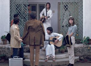 Donovan's friends, Gypsy Dave and his sweetheart, Yvonne, came to the ashram for a few days to visit Donovan. John and Paul were just finishing playing and we all headed off for dinner.